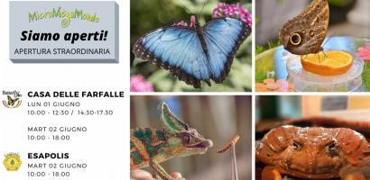 Esapolis e Casa delle Farfalle aperti il 2 giugno