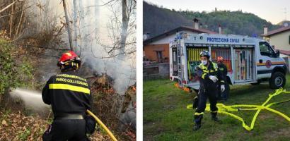 La Protezione Civile in prima linea per domare l'incendio sui Colli Euganei