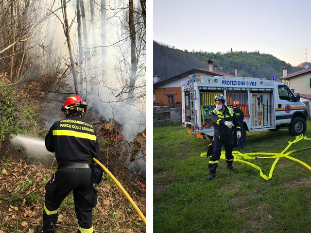 Protezione Civile e Vigili del fuoco a lavoro per domare l'incendio